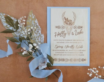 Bohemian Wedding stationery. Wood invitation. Stag Flowers. 10 pack