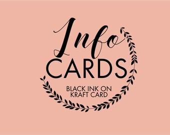 Info cards- Black ink on Kraft card