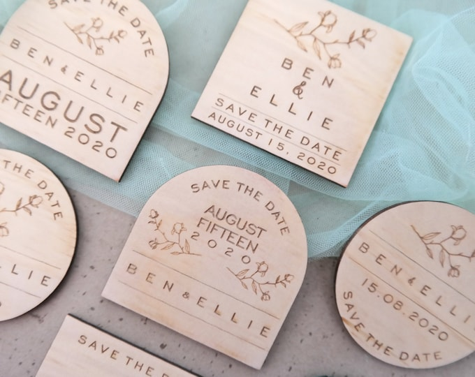 Grace Save the Date Magnets - Wood. Set of 10