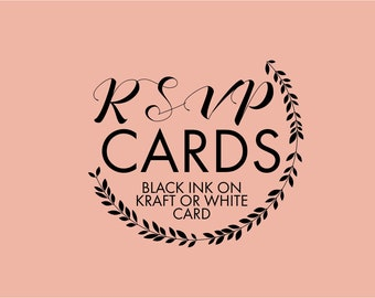 RSVP card and Envelope Sets - Black ink on Kraft OR white card