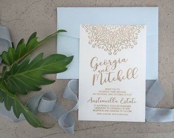 Mandala wedding stationery - Coastal Designs - Linen Paper - Pack of 10