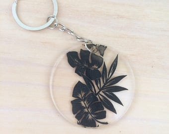 Keyring. Acrylic keyring. Palm tropical print