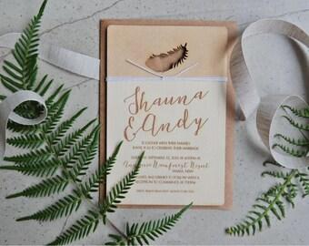 Wood wedding invitation - Timber wedding invitation - Feather Design  - boho wedding - Pack of 10