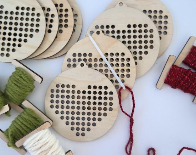 DIY Cross Stitch bauble kits - Heart cross stitch - Children's Craft