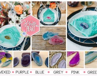 Agate place settings - Laser Engraved semi-precious stone - 25 pieces