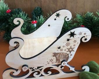 Christmas Eve Sleigh - woodlands christmas decor. Small.