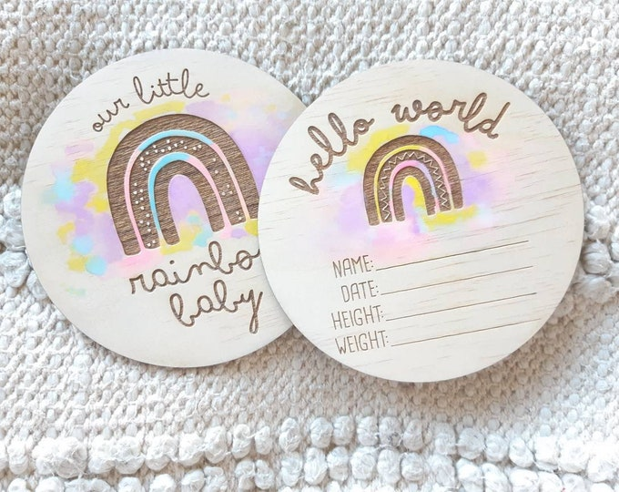 Rainbow Watercolour Birth announcement photo prop. Wood birth details disc