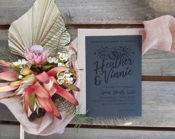 Bohemian wedding invitation - Tribal Rose - Pack of 10