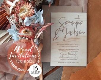 Wood wedding invitation. 12 x 18cm wedding invitation. 10 pack
