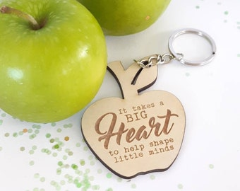 Teachers gift keyring. Apple - Timber keyring