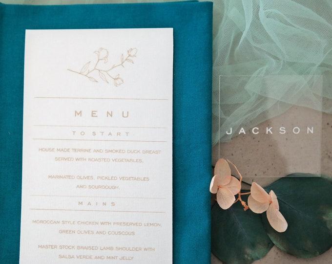 Grace Menu Card - Wedding Menu - Set of 10