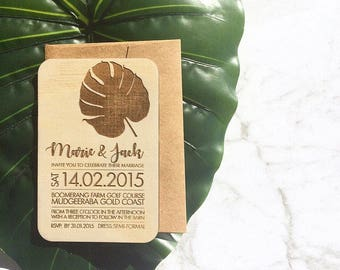 Wedding invitation - Timber wedding invitation - Tropical Beach Design - SAMPLE ONLY