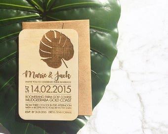 Wedding invitation - Timber wedding invitation - Tropical Beach Design - SAMPLE ONLY