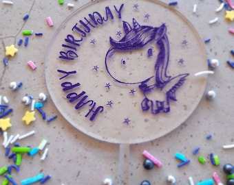 Unicorn cake topper. Acrylic or wood cake topper. Birthday cake topper. Happy birthday
