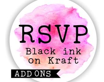 RSVP card and Envelope Sets - Black ink on Kraft