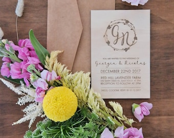 Wedding invitation. Laser engraved monogram Vines wedding invites. Wood. 10 pack