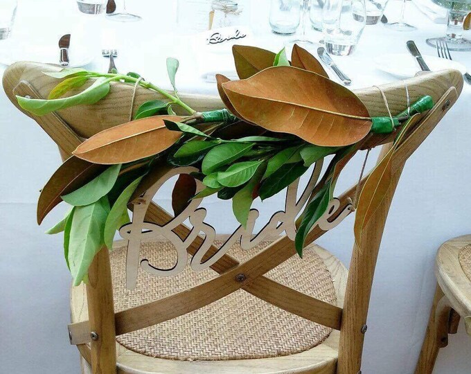 Chair signs, Bride and groom.  Laser cut chair signs.