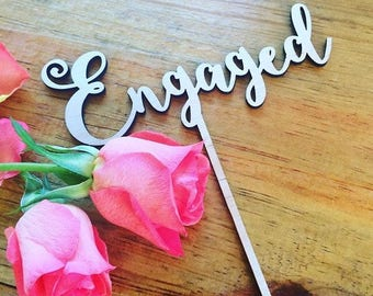 Rustic Cake topper -Engaged Cake Topper - Raw Wood