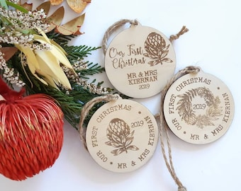 Personalised Christmas decorations. Newly Weds
