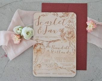Wedding invitation. Laser engraved wood wedding invitation. Botanical and Floral series. 10 pack