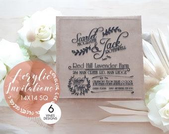 Square Wedding Invitation. Acrylic invitation 14 x 14cm. Set of 10