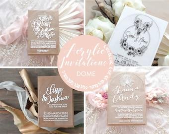 SAMPLE - Acrylic wedding invitation, laser engraved acrylic stationery. Dome 12X18CM size