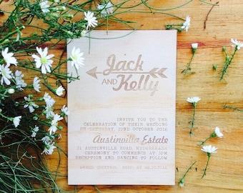Wood wedding invitation - Timber wedding invitation - Arrow & Heart Designs - Pack of 10