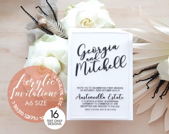 Acrylic wedding invitation. Motif. Modern Wedding invitation. A6. Pack of 10