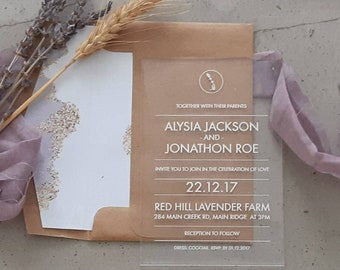 Acrylic Wedding Invitation, laser engraved acrylic stationery. Lavender Pack of 10.