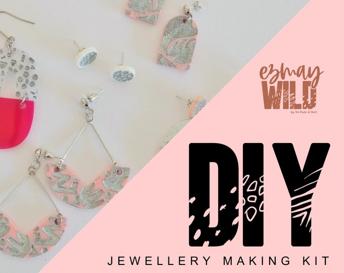 DIY Jewellery making kit. Acrylic Earrings - Silver