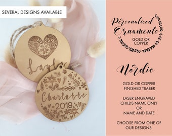 Nordic Christmas decorations. Gold or Copper christmas baubles