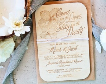 Wood wedding invitation. Frangipani Laser engraved wood and twine wedding invitation. 10 pack
