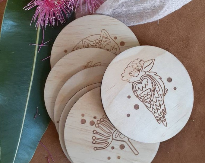 Wood Coaster Set - Mothers Day Gifts - Australiana