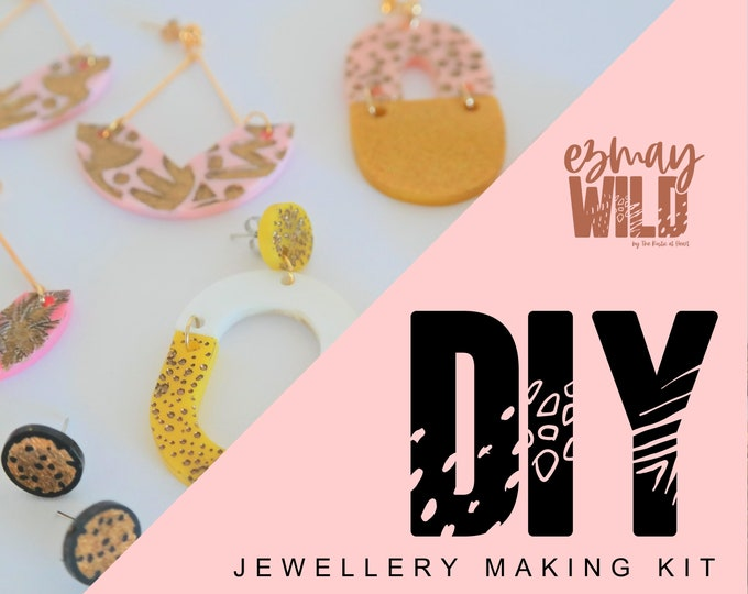 DIY Jewellery making kit. Acrylic Earrings - Gold