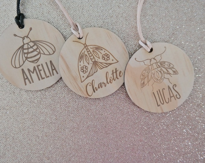 School Bag Tags. Luggage Tags Boys and Girls. INSECTS