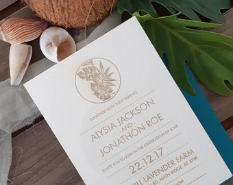 Coastal wedding stationery - Tropical leaf print Paper invitation - Pack of 10