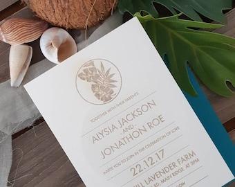 Coastal wedding stationery - Tropical leaf print Paper invitation - Pack of 10