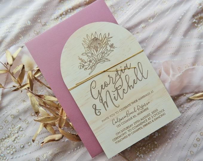 Arch Wedding Invitation - Protea invitation. Wood Invitation. Set of 10 and Bundle Option