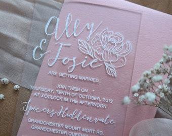 Acrylic wedding invitation, laser engraved acrylic stationery. Peonie.  Pack of 10