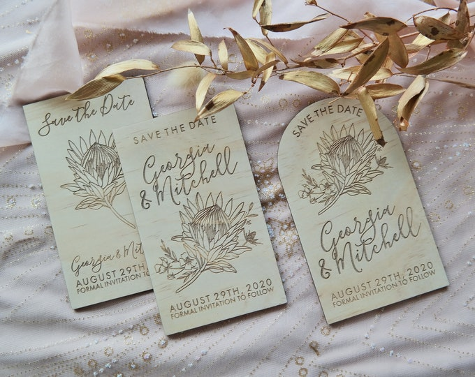 Protea Save the Date Cards - Set of 10
