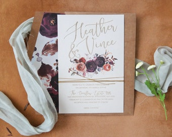 Watercolour Wedding invitation. Engraved paper invitation. Burgundy florals- Pack of 10