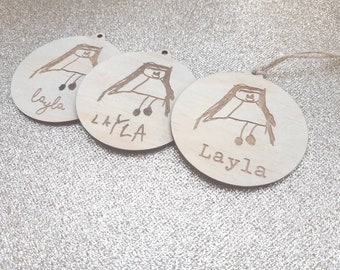 Christmas ornaments - Childrens drawing baubles