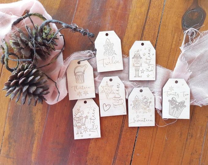 Advent calendar tags.  Christmas gift tags. Nutcracker.
