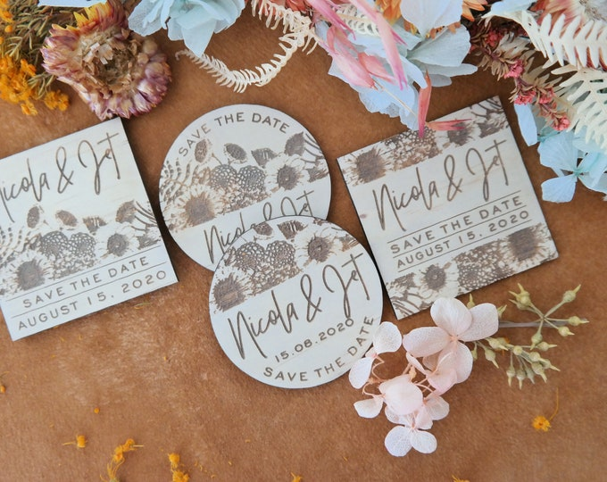 FLORA Save the Date Magnets - Wedding Save the Date cards. Set of 10