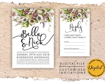 Floral wedding invitation - DIY printing - Digital file.