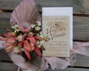 Wood Boho Wedding invitation. Tribal Rose  10 pack