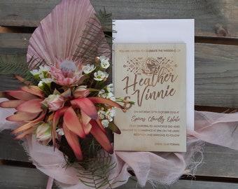 Wood Boho Wedding invitation. Tribal Rose  10 pack