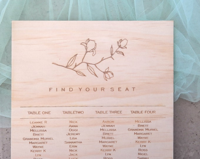 Grace Wedding Seating Chart. wood