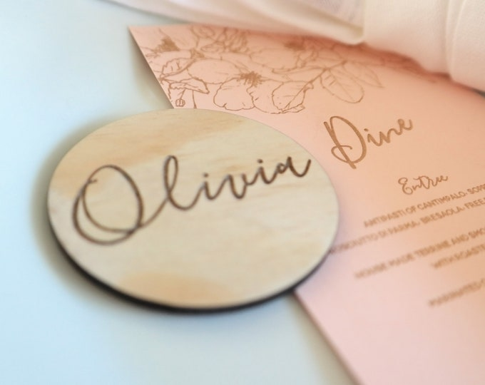 Bloom Wood Place cards - Wedding Place Cards - Round