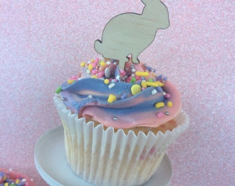 Easter Cupcake topper - rabbit cupcake topper. wood etched. SET OF 6